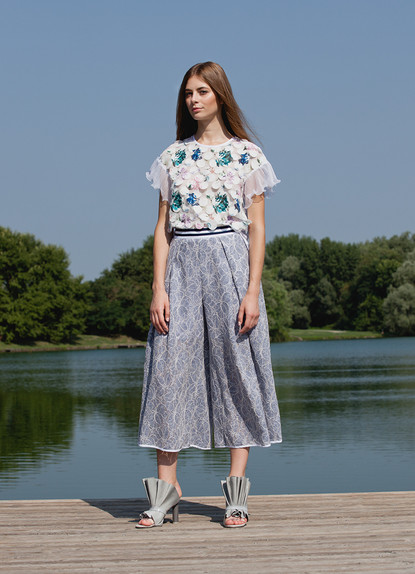 DOT FIL COUPE' PRINT T-SHIRT  /  DENIM LACE WIDE PANTS