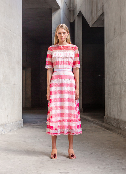 FLUO STRIPE EMBROIDERY DRESS