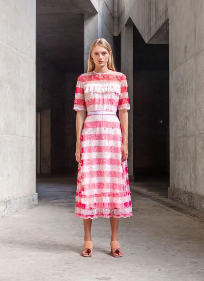 FLUO STRIPE EMBROIDERY DRESS