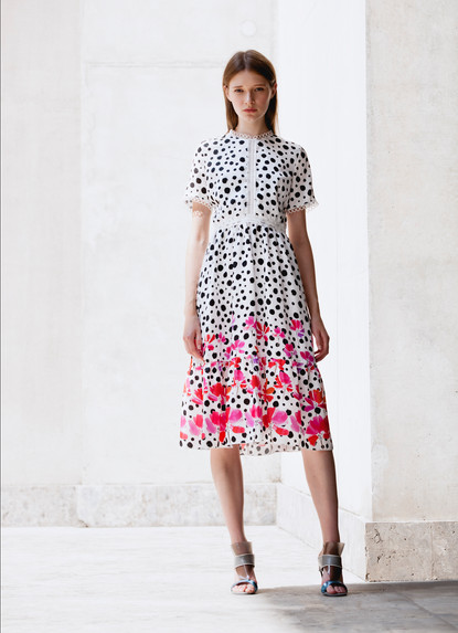 PRINT GATHERED DRESS