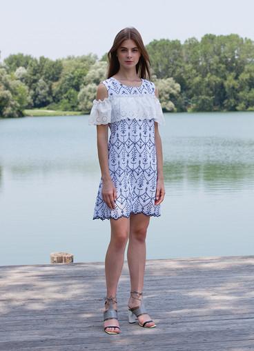 NAVY SANGALLO TUNIC DRESS