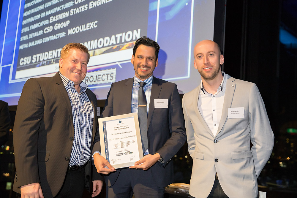 IBSI project manager and designer Jacques De Bedout (center) and CSD Group Australia managing director Michael Williams (right) receiving the commendation at the 2018 ASI NSW & ACT Steel Excellence Awards last 20 July 2018 in Sydney, Australia.