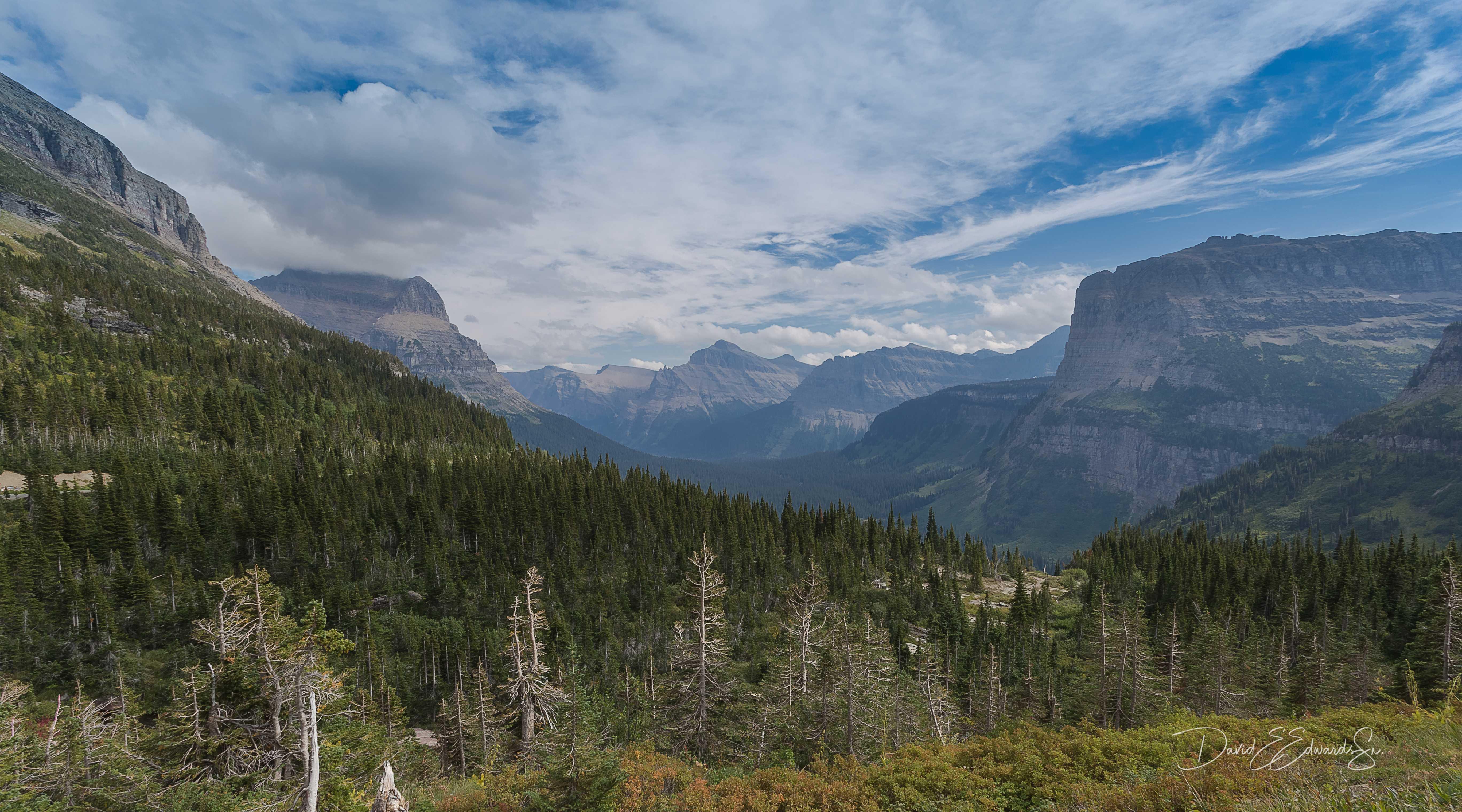 Cloudy smoky Glacier view