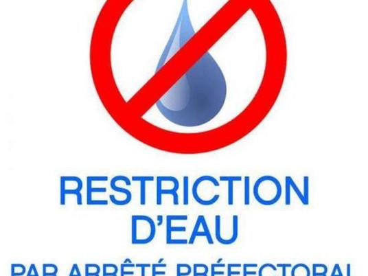 Restriction d'eau jusqu'au 15 octobre