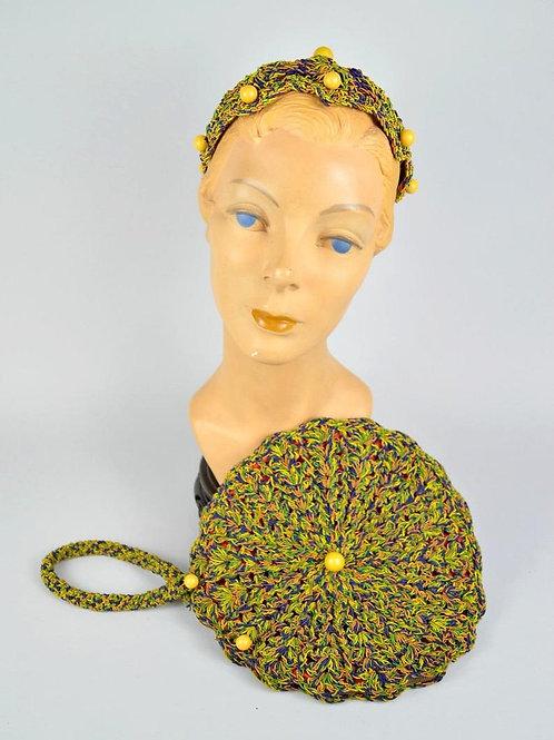 1940s Crochet Hat Purse Set Vintage Colorful Corde / Bakelite Trim