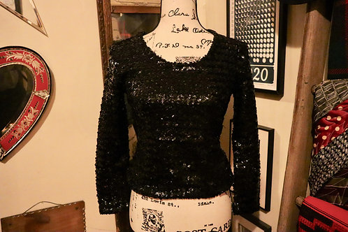 1950s Inky Black Sequin Cocktail Sweater