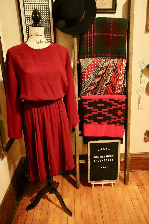 1980s Leslie Fay Pleated Dress Burgundy