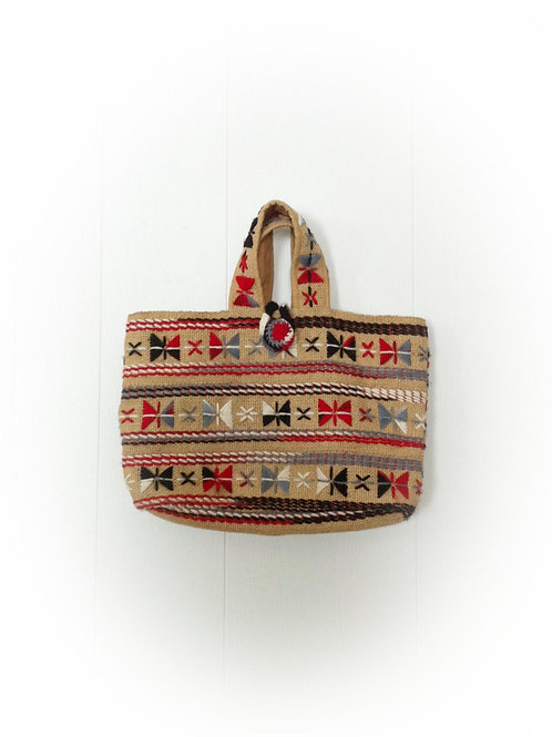 1970s Burlap Purse with Yarn Embroidery
