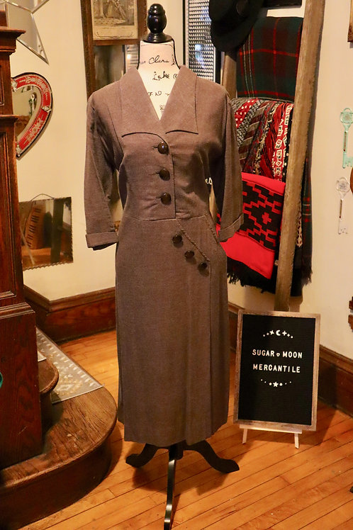 1940s Day Dress | Heathered Wool 40s Dress