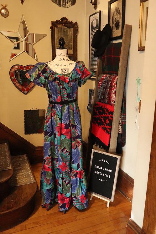 1960s  Hilo Hattie Blue Hawaii Maxi Dress