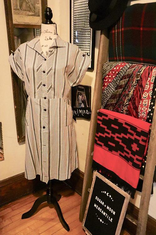 1950s Brentwood Grey Striped Daydress
