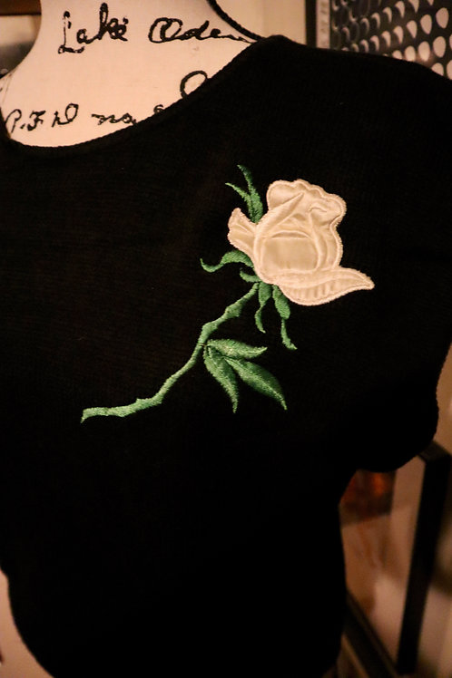 1980s Embroidered Satin Rose Pullover Sweater