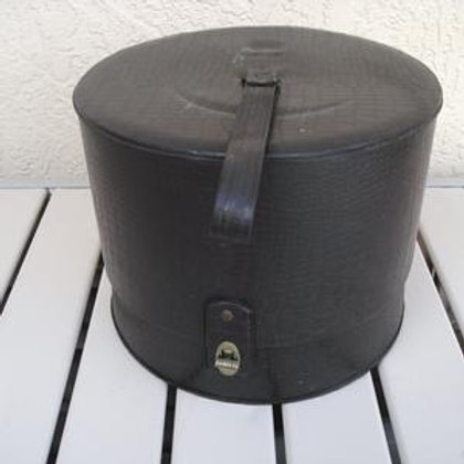1960s Black Reptile Pattern Vinyl Hat/Wig Box