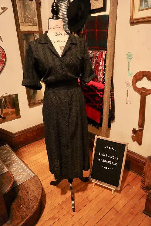 1950s Black Eyelet  Day Dress