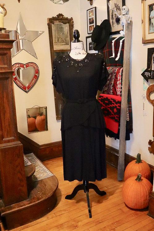 1940s Black Crepe Peplum Dress