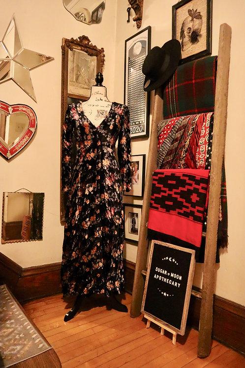 1990s Velvet Floral Maxi Dress