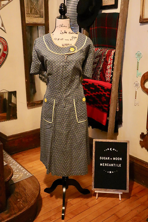1930s Blue and Yellow Print Housedress