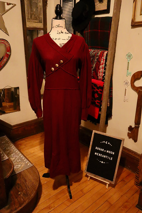 1930s Winter Wool Long Sleeve Formal Dress