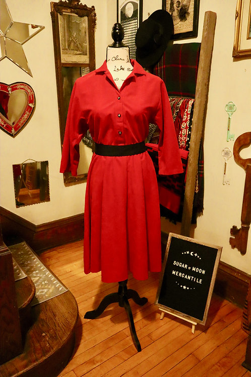 1980s EJM Petite - Chili Red Fit and Flare Dress