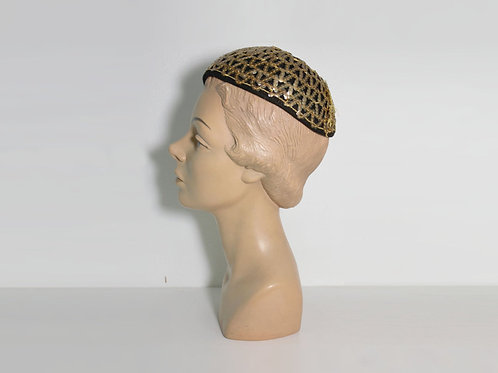 1940s Gold Sequin Skull Cap