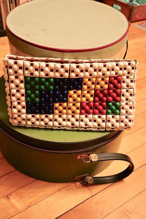 RARE - 1940s Multicolored Plasticflex Clutch Purse