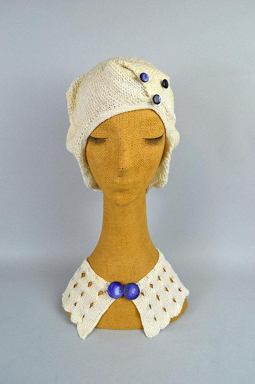1930s Crochet Snood Hat & Collar Set