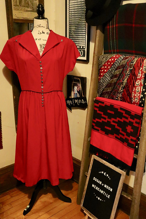 1950s Style Repro Red Dress