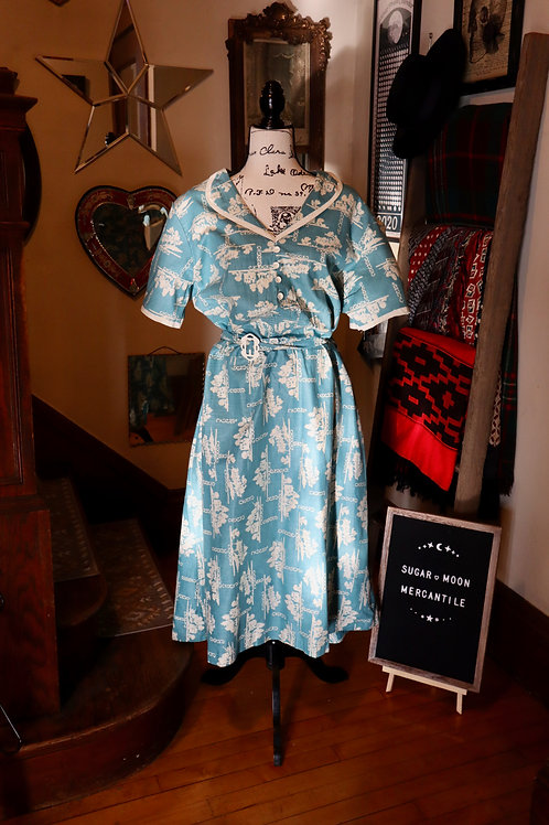 1930s Peacock Blue Castle Forest Print Cotton Daydress