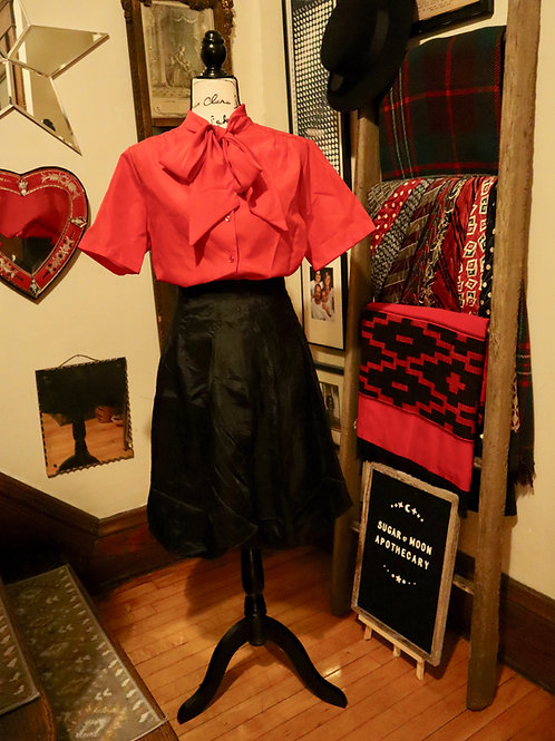 1980s Red Short Sleeve Blouse with Pussy Bow