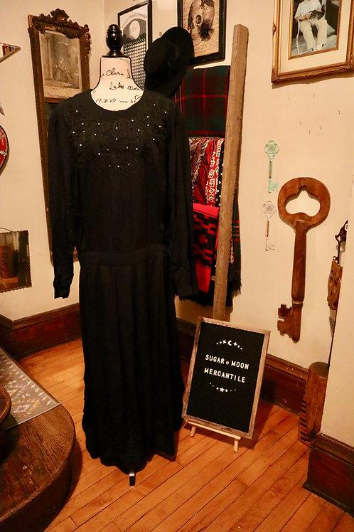1980s Does 1920s Black Drop Waist Dress