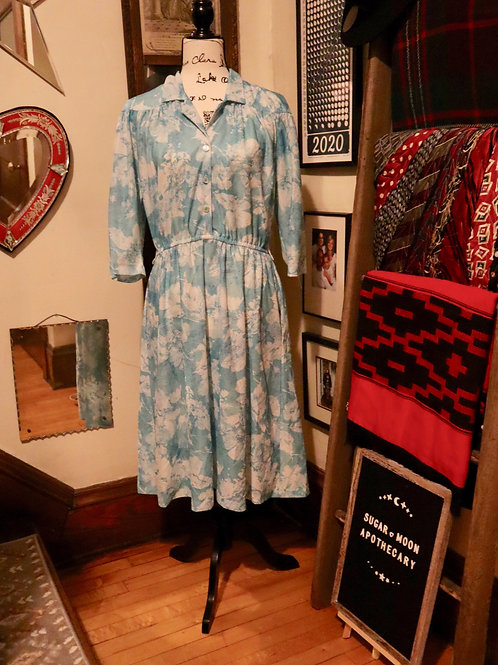 1960s Sheer Blue Day Dress