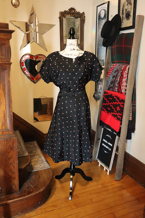 1950s Floral Taffeta Party Swing Dress
