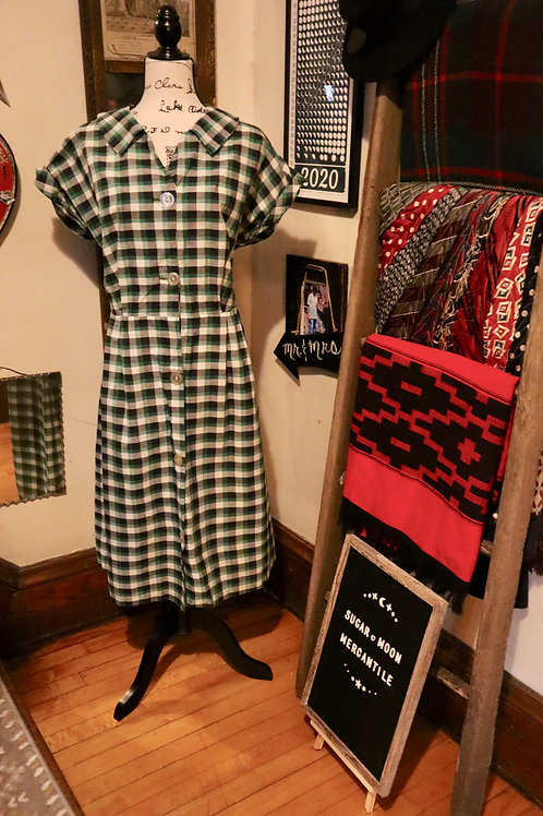 Late 1940's  Plaid Checkered Cotton Frock Day Shirtdress
