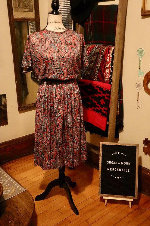 1980s Paisley Flirty Dress Homemade