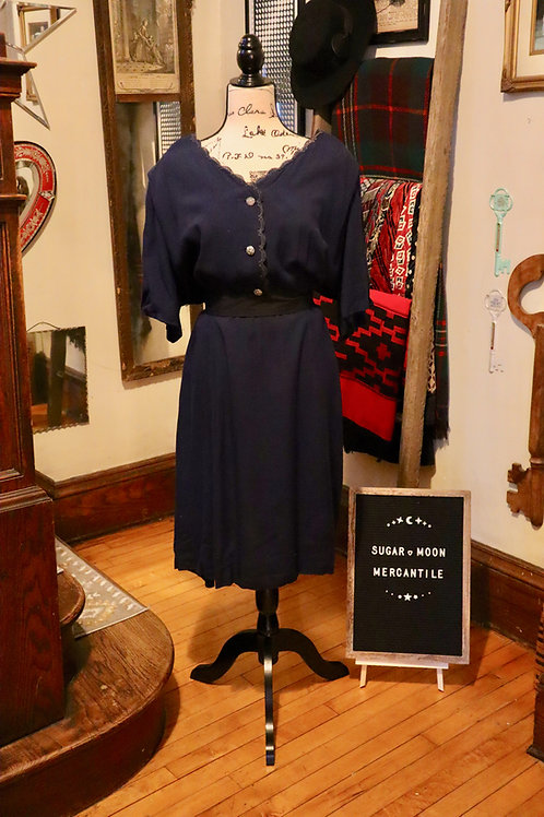 1960s Herbert Levy Navy Blue Shirt Dress