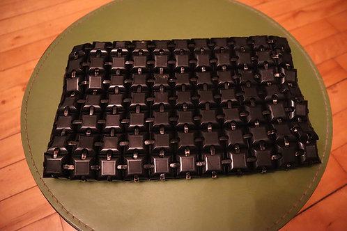 1940s Black Plasticflex Plastic Tile Clutch