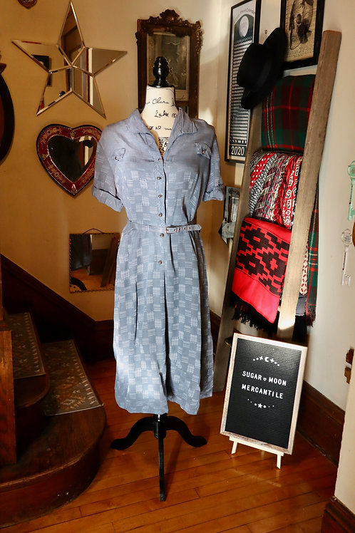 1940s Periwinkle Grey/Blue Shirt Daydress