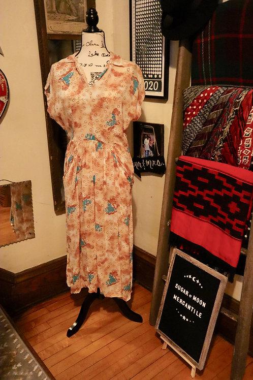 RARE - Late 1930s Sheer Crepe Prairie Woman Print