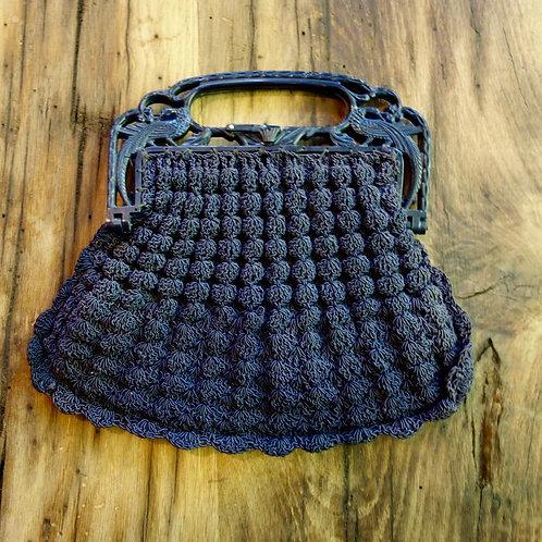 1930s Navy Crocheted Handbag