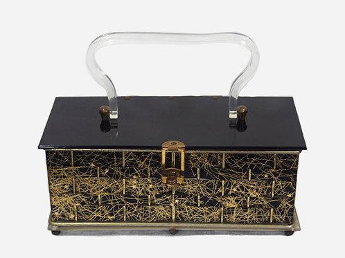 1950s Gold Stars & Black Metal Box Purse