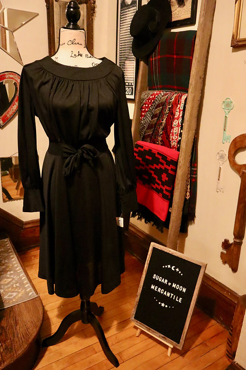 1970s Deadstock LBD Swing Dress with Tie Front