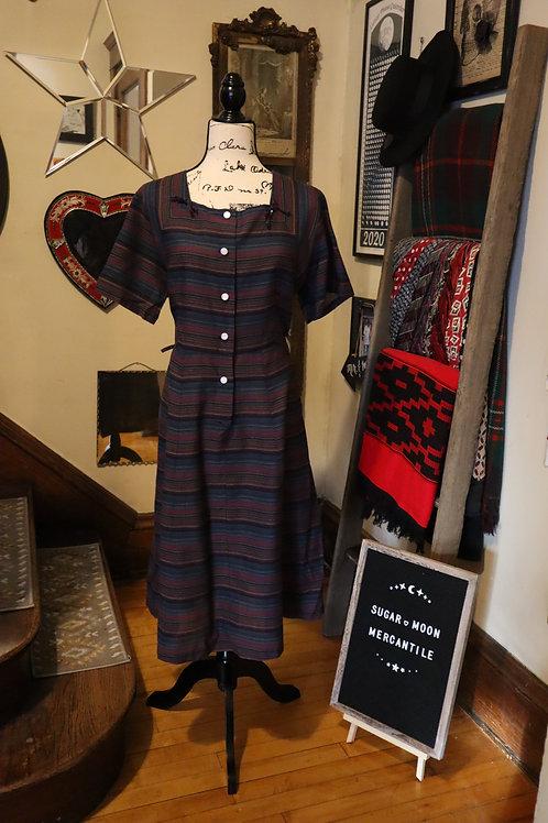 1960s  Stripy Cotton Blend  Day Dress