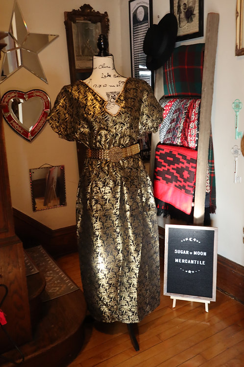 1950s Custom Made Black with Gold Brocade Dress