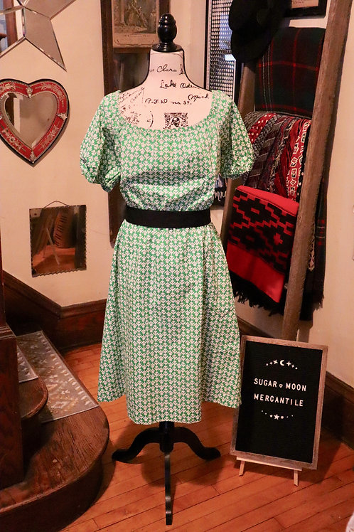 1960s Green and White Peasant Dress