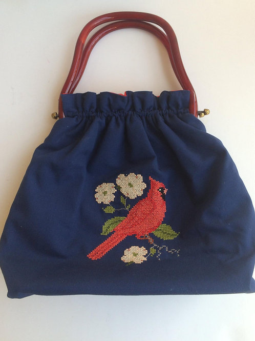 1960s Embroidered Cardinal Novelty Handbag - Celluloid Handle