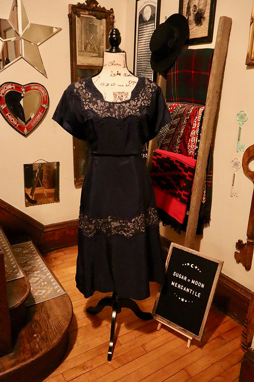 1950s  Navy Taffeta Lace Dress