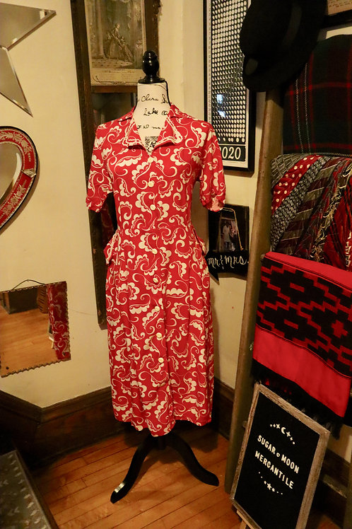 1940s Red and White Daydress With Bric a Brac Trim