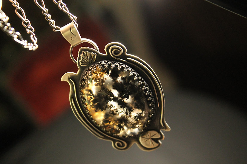 American Waterlily * Sterling Silver * Moss Agate