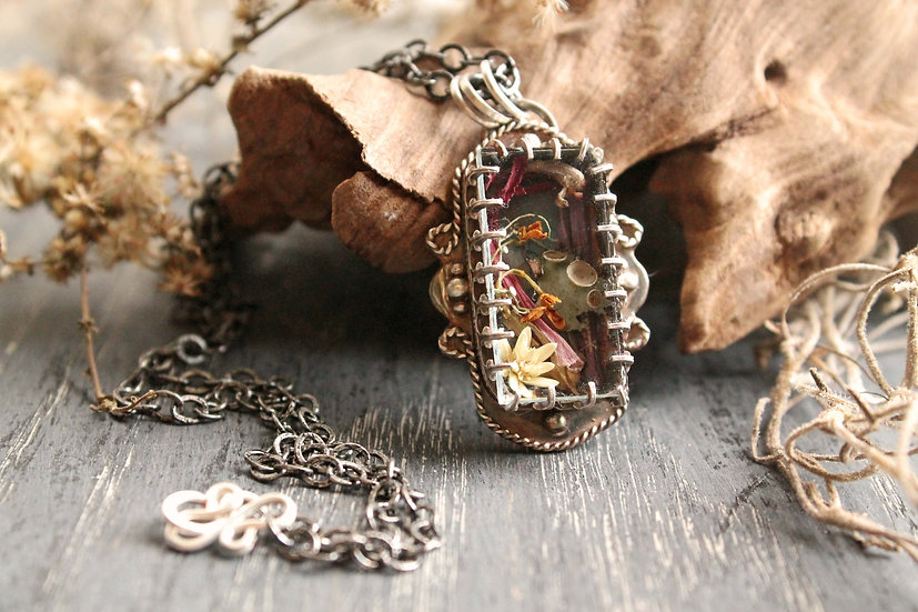 Swamp Locket * Sterling & Fine Silver * Autumn