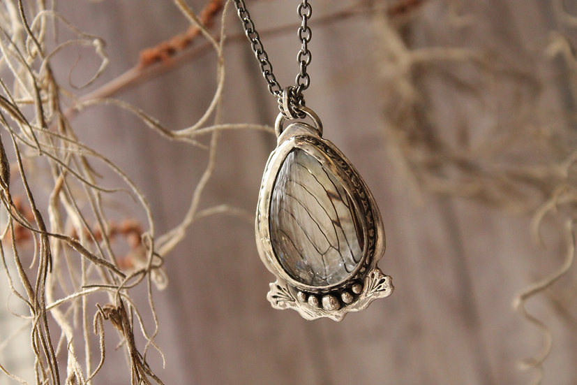Cicada Wing * Sterling Silver * Cattails